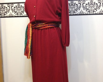 Deadstock 1970's Red Long Sleeve Wool Blend Hipster Dress by Toni Todd, Size 7 / 8, New WIth Tags Vintage Boho Long Sleeve Dress