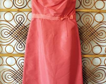90s | Coral Strapless Sheath Dress w/ Bow Sash Detail
