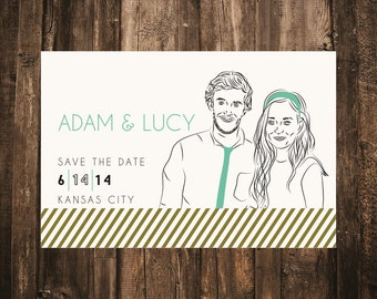 Illustrated Portrait Save the Date // 4.25x5.5 Magnet // DOWN PAYMENT // Custom Portrait, Save the Date, Whimsical Wedding