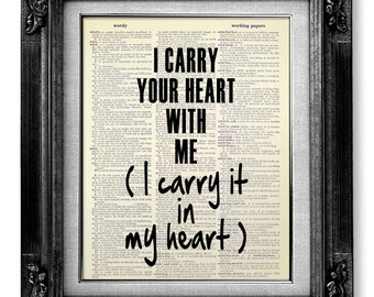 First ANNIVERSARY Gift Man, 1st Anniversary Gift Boyfriend Him, Unique ENGAGEMENT Gift, E.E.Cummings Wedding POEM I Carry Your Heart with Me