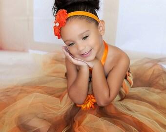 Orange, Brown and Yellow Fall Tutu Dress,Flower Girl Dress, Fall Tutu Dress, Autumn Tutu Dress,  Baby Tutu Dress, Toddler Tutu Dress