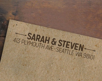 Address Rubber Stamp • Personalized • Wooden Handle • Custom Return Address Stamp • Housewarming Gift • Arrows Hearts Stamp