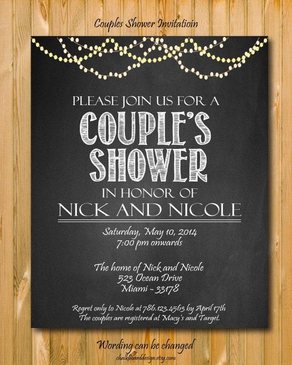 Printable Couples Shower Invitation Custom Party Invitation Custom Chalkboard Invite