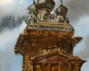 reserve for phyllis, Russian architecture, wooden dome, Wooden church, village church#Russian folklore#popular print#rustic landscape#folk