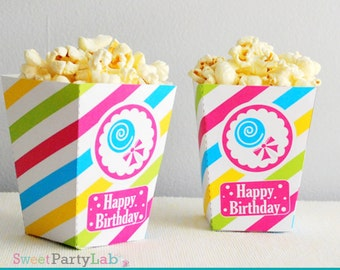 Candyland  Popcorn Box, Printable Candyland Party,DIY Candy Shoppe Printable Party Favor Box, Instant Download -D010 HBCL1