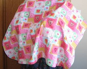 Nursing Shawl in Pink Hearts and Roses, FREE SHIPPING