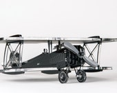 Airplane model, modern sculpture, WWII plane, Biplane, Miniature, Prop plane, Art collectors, gift for him, pilot Gift