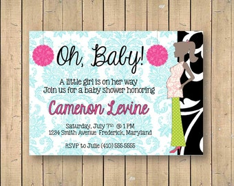 Baby Shower Invitation // Damask Pregnant Silhouette