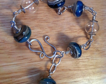 Gift for her,Silver bracelet,artisan lamp work, blue and silver,woman's bracelet,lampwork glass bead