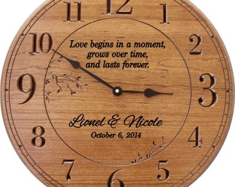 Love Begins in a Moment  .. Personalized 17 in Wood Wall Clock Engraved with Names and Date