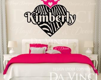 Zebra Print Heart Crown Princess Personalized Custom Name Room Bedroom  Vinyl Wall Decal Sticker Decoration