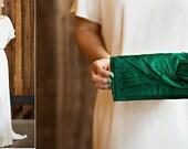 Clutch purse in emerald green silk