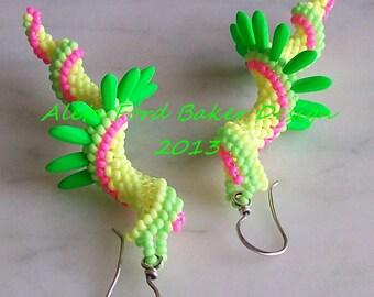 Beaded Art Spiral Earrings Neon Jewelry Beaded Indespiral Design