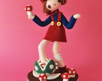 "OOAK ""Watch Your Step"" Doll - Retro Plush Needlefelting Felt Sculpture Japanese Video Game Toy"