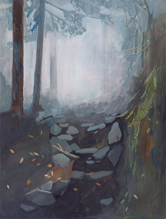 Foggy Trail - limited edition art print of original painting