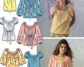 Boho peasant top Prairie Style casual tops sewing pattern Simplicity 3887 Size 8 or size 8 to 10