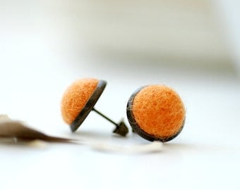 Stud Earrings, Felted Wool Earrings, Orange Studs, Fibre Jewelry, Post Earrings, Neon Earrings, Light Orange Earrings, Antiqued Brass Studs