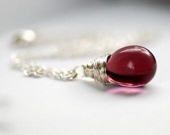 Purple Necklace, Purple Pendant, Pendant Necklace, Glass Pendant, Jeweltone Jewelry, Wire Wrapped Pendant Necklace - Orchid