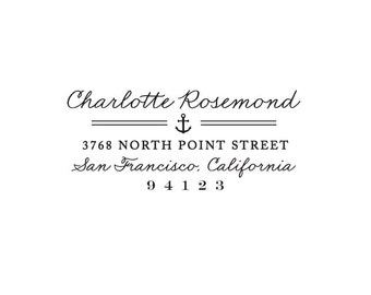 Nautical Stamp - Custom Stamp with Anchor Detail - Anchor Stamp - Address Stamp - Custom Stamps