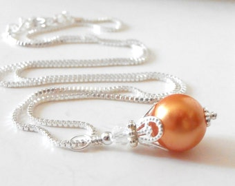 Orange Bridesmaid Necklace, Orange Pearl Pendant, Simple Wedding Jewelry, Summer Weddings, Tangerine, Citrus, Sterling Silver Chain