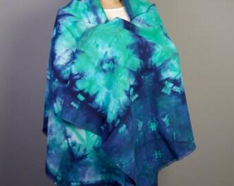 large scarf indigo blue and green cotton shibori tie dye shawl