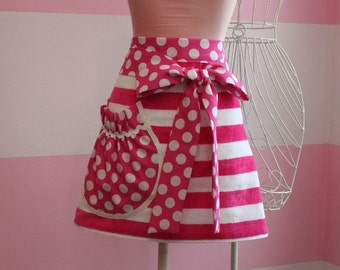 Towel Apron - Pink Stipes & Dots