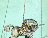 Steampunk Carousel WALL art print - Unicorn - Fine Art Print  - giclée Fantasy Art Print - Steampunk Art - Victorian Art - turquoise Pink