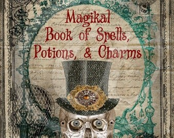 Steampunk Halloween Magikal Book of Spells Digital Collage Sheet Potions Charms Book Cover image transfer greeting cards tag UPrint 300jpg
