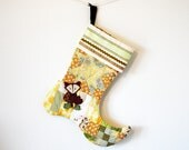 """Patchwork Quilted Christmas Stocking 14"""" tall in Gold, Yellow, Green, and Cream with Handmade Felt Fox Embellishment"""