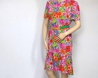 Vintage 1980s Dress ON SALE Gauze Semi Sheer Colorful Tropical Floral Short Sleeve Shift Gatsby Day Dress Leslie Fay Flare Hem Size Medium