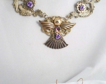 Steampunk Elegance in a Cottage Chic Designed Angel with Repurposed New and Vintage Jewelry Necklace and Earring Set