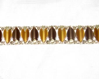 Vintage Brown Gold Thermoset Leaf Panel Bracelet (BR-2-2)