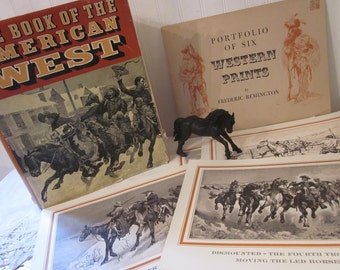vintage The Book of the American West (c) 1963 First Edition HCDJ, Jay Monaghan -PLUS- Portfolio of Six Western Prints by Frederic Remington