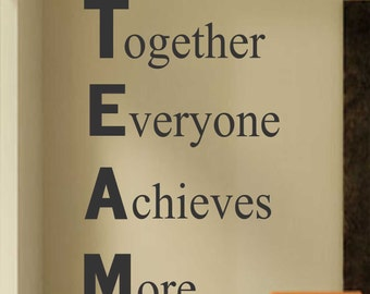 Definition of TEAM, Vinyl Wall Lettering, Vinyl Wall Decals, Vinyl Decals, Vinyl Lettering, Wall Decals, Office Decal, Employee Motivation