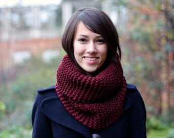 Hand Knit Cowl Scarf Snood, Chunky Knit Cowl Scarf, Hand Knit Snood for Women or Men, Redcurrant