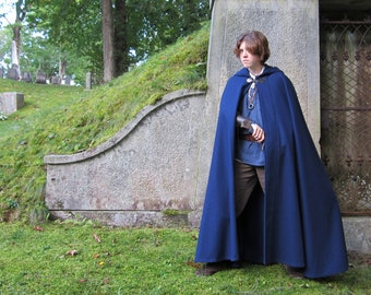 Wool Cloak - Half-Circle Cloak - Blue Cloak  - Hooded Cloak - Cloak with Hood - Cloaks and Capes