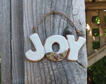 """Ceramic """"Joy"""" Sign - Small Wall Hanging with Real Leaf Imprints and Clay Berries - Holiday Greeting - Wall Decoration - Gift under 10"""