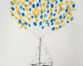 Sailboat with Balloon strings, The original guest book thumbprint balloon art(ink pads sold separately)