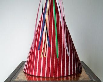 Striped Taffeta Party Hat-Vintage Fabric-Birthday Hat