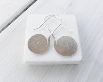 Silver Flat Spiral Earrings, Handmade Geometric Everyday Spiral Earrings, Simple Swirl Boho Hippie Earrings, Spiral Jewelry, Greek Jewelry