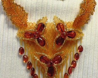 Amber  Beaded Floral Necklace (Amber#A-2)