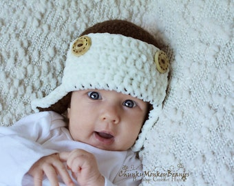 Baby Boy Hat, 3 to 6 Months Baby Boy Aviator Hat, Boy Aviator Hat, Earflap Beanie, Brown,Cream, Wooden Buttons. Great for Photo Props. Kids