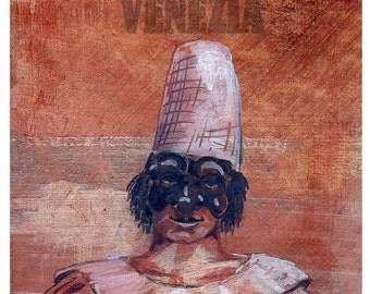 VENICE, Original Travel illustration,Italy, Mask, Character Commedia Dell Arte, Pulcinella, Terra cotta, Artist Print, Free Shipping in USA.