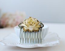 Gold Tipped Shabby Ivory Rose Hair Comb. Antiqued Brass Filigree Hair Comb. Vintage Inspired Wedding Bridal Hair Comb