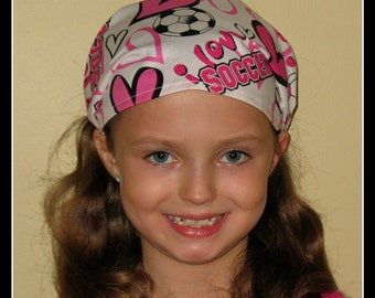 BANDANA-Soccer Bandana-I Love Soccer-one size fits girls, teens, adults-has fabric covered elastic back / Ready To Ship