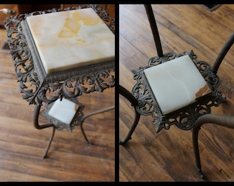 Antique Brass & Onyx Plant Stand
