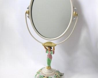 Vintage Cast Iron Vanity Mirror, Geisha, Pastel