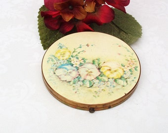 Vintage Large Mirror Compact, Powder Compact, Round Mirror, Loose Powder Compact, Yellow Blue