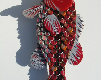 Metal Bottle Cap Fish Wall Art - Red Budweiser Large Mouth Bass
