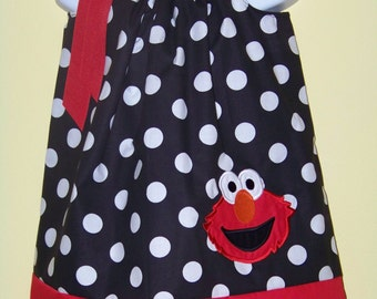 Elmo Pillowcase Dress / 123 Sesame Street / Big Bird / Character / Newborn / Infant / Baby / Girl / Toddler / Custom Boutique Clothing